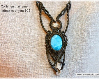 Rainbow Moonstone necklace, Silver 925 and larimar
