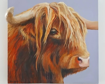 Original Painting - 'Straight To The Point' Mixed Media on Canvas of a Highland Bull