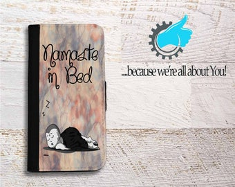 Samsung Wallet Phone Case for Samsung Galaxy S6 S7 S8 Edge Neo and Plus,Namaste in Bed, Custom Samsung Galaxy Case, Can add name or monogram