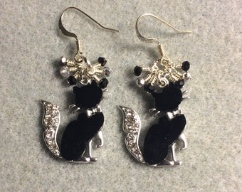 Black and silver resin and rhinestone cat charm earrings adorned with tiny dangling black and silver Chinese crystal beads.