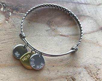 Bangle charm bracelets mom silver adjustable personalized bracelet name bracelet custom name bracelet custom silver bracelet