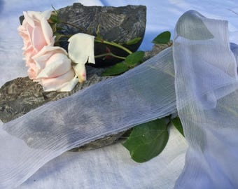 PERIWINKLE hand dyed silk ribbon / lavender / plant dyed / eco dyed / wedding ribbon / styling ribbon / photo prop / pure silk ribbon
