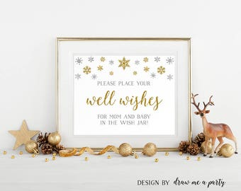 Winter Wishes For Baby , Gold Silver Baby Shower Wishes , Wishes For Baby Sign , Wishes For Mommy , Printable