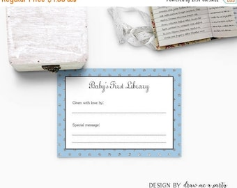 Blue Baby's First Library , Blue and Silver Book Plate , Blue Bookplate Sticker , Blue Bookplate Card , Printable , Instant Download