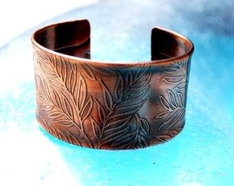 Etched Copper Cuff Bracelet, Romantic Copper Cuff Bracelet, Women's Copper Cuff Bracelet, Leafy Copper Cuff Bracelet