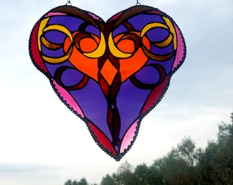 Heart Stained Glass - Free Shipping -  Bombay Romance - Stained Glass Sun Catcher