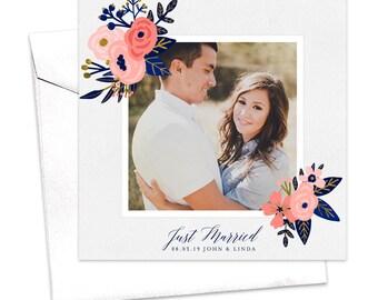Floral Wedding Announcement Card / Flower Elopement Announcement Card / Modern Photo Announcement / Marriage Announcement