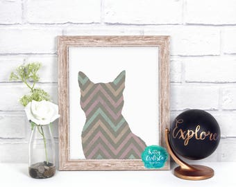 Boho Cat Digital Print, Abstract Wall Art, Cat Lover Art Print, Home Decor, Cat Lover Gift, Printable Art, Instant Download Art Print