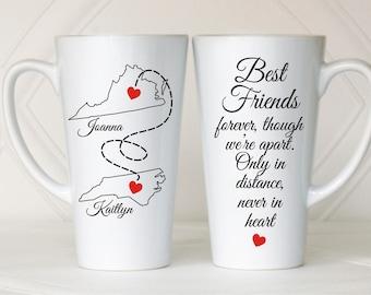 Long distance mug, Long distance relationship mug, Long distance friendship, Bff, Friend gift, Best friend gift, Long distance gift, Friend