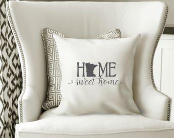 Minnesota Pillow Cover, Minnesota State Decor, Minnesota, Housewarming Gift, Throw Pillow, Home Pillow, State Pillow, Pillow Cover,Wedding