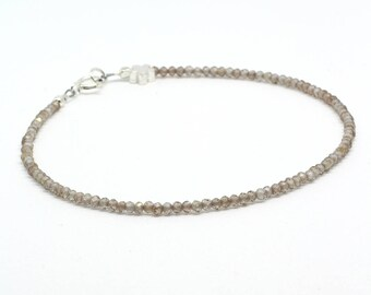 Zircon bracelet;Gemstone bracelet;Champagne zircon;Beaded bracelet;Stacking bracelet;Brown bracelet;Layering bracelet;Sterling silver;Zircon