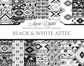Black and White Aztec Digital Paper. Scrapbook Backgrounds. Aztec patterns, tribal backgrounds, native, grey, Boho seamless patterns.