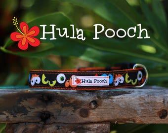 "Halloween Dog Collar ""Spooky Eyes"" - Small, Medium, Large Adjustable // FREE SHIPPING"