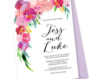 Bohemian Floral Watercolour - A5 Invitation - Customisable and Printable
