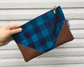 Navy Blue and Teal Buffalo Plaid Tassel Clutch