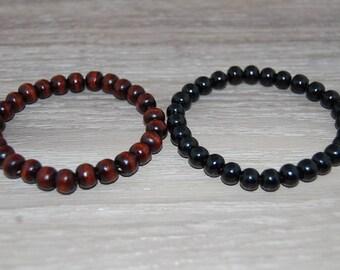 Set 2 x Bracelets,Wood Bracelets,Black,Brown,Wood 8mm Beads,Stretch,Prayer Bracelet,Man,Woman,Lucky,Pray,Yoga,Protection,Meditation