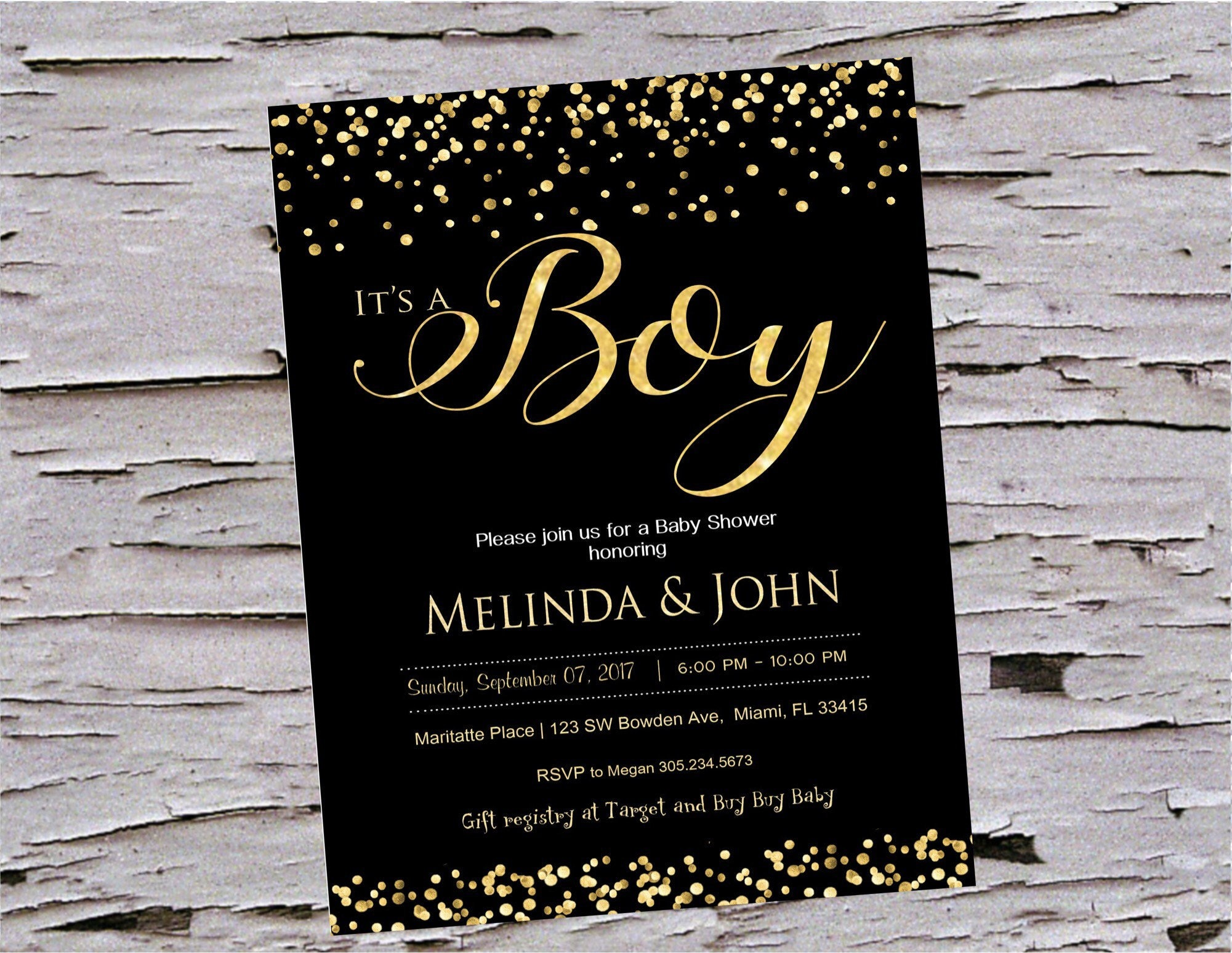 black and gold baby shower invitations it s a boy little man