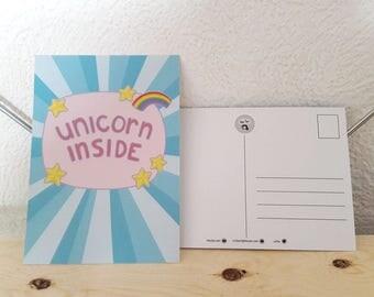 Unicorn Inside Postcard - unicorn card, unicorn humor, postcard unicorn, retro postcard unicorn