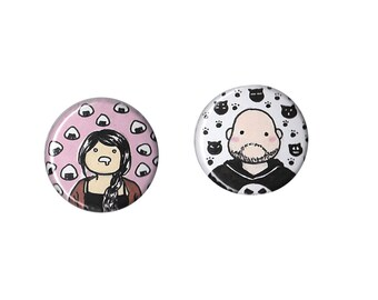 Custom Portrait Badge - custom portrait pin, personalised pin, custom comic portrait, custom personal portrait