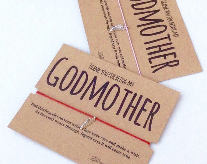Thank you for being my Godmother Wish Bracelet | Birthday Gift |  Wish band & Card. Can be personalised. Charm bracelet