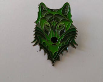 Green Wolf Hat Pin