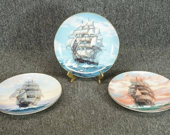 "3 W. S. George Golden Age Of The Clipper Ships Collector Plates 8 1/2"" C. 1989"