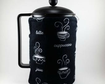 French Press Cozy, 12 Cup, Extra Large, Coffee Themed, Insulated Wrap, Bodum Press, Cafetiere Cosy, MB0179