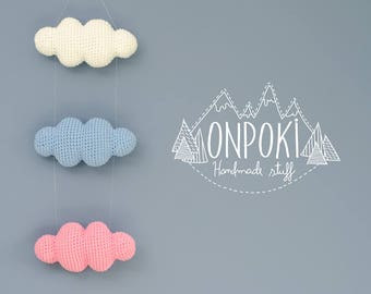 Onpoki Clouds - 32 colors to choose from! - Baby Mobile, wall hanging, cloud, nursery, office, decoration, babies, children, teenagers -