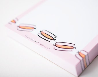 Cute Notepad, Kitchen Magnet, Hot dog Paper, Weiner Illustration, Gift for Friend, Sausage Lover, Grocery List, Small Notepad, Fridge List