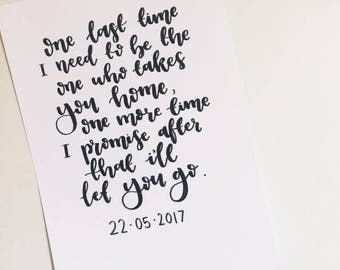 Ariana Grande - One Last Time. Charity Print. Typography Print.