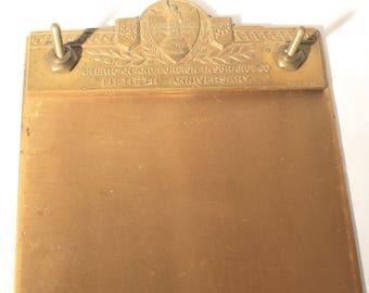 Solid Brass, Notepad Holder, Vintage Desk Accessory, Office Decor, Advertising, Insurance Industry, Mid Century, Paper Holder, Desk Set