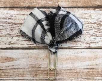 Black and White Plaid Flannel Planner Clip | Fabric Planner Clip| Planner Clip| Journal | Bookmark on Gold Paper Clip