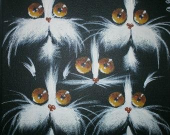 Cat painting, acrylic on canvas, original artwork.
