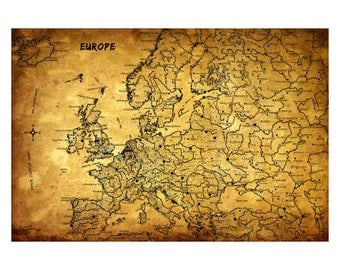 EUROPE Vintage Map 5G- Personalized Leather Journal Cover Moleskine Field Notes Custom