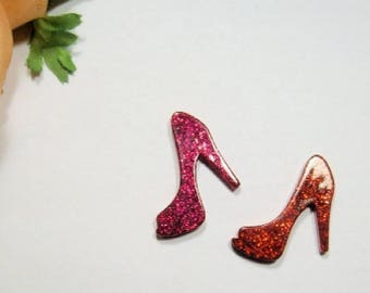 "2 Pc Hot Pink/Red Resin Kawaii Cabochon Diy Decoden Flat Back ""Glitter High Heels"" Cellphone Case Deco"