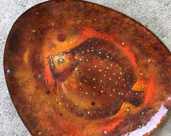 """RARE* Modernist Barney Reid Enamel over Copper titled """"Flounder"""""""