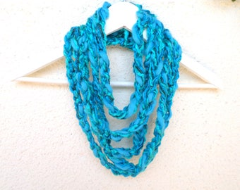 Skinny scarf, Crochet scarf necklace, Crochet Necklace,Boho scarf,Turquoise scarf,Knit necklace,Gift for Her,Trend necklace,Multicolor scarf