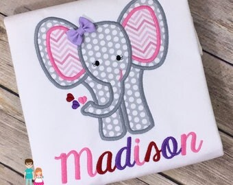 Girls Personalized Valentine's Day shirt, Girls Valentine Elephant Shirt, Elephant with Hearts Valentine's Day Shirt, Girls Valentine Shirt
