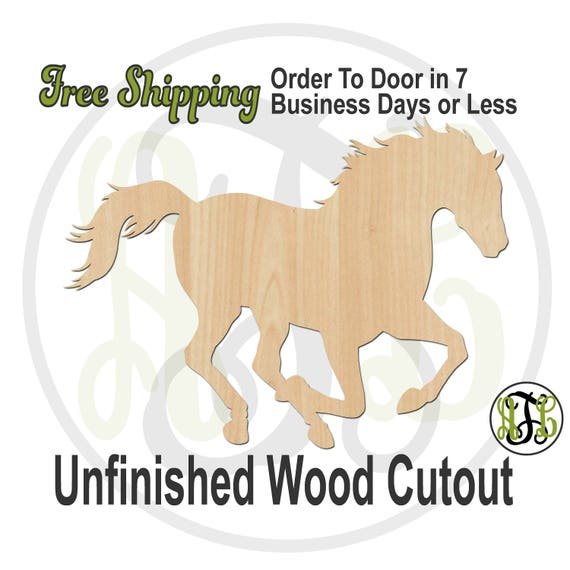 Horse - 230109- Farm Cutout, unfinished, wood cutout, wood craft, laser cut shape, wood cut out, wood cut out, wooden, Equestrian, Racing