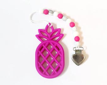 Fuchsia Pineapple Clip I Pineapple Teether I Pineapple Pacifier Clip I Teething Toy I Pacifier Clip