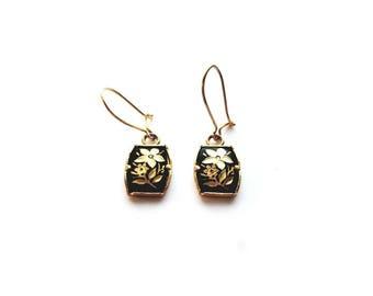 Vintage Gold Flower with Cloisonne Enamel, Pierced Earrings
