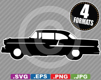 1955 Chevy Bel Air Silhouette Clip Art Image - SVG cutting file Plus eps (vector), jpg, & png
