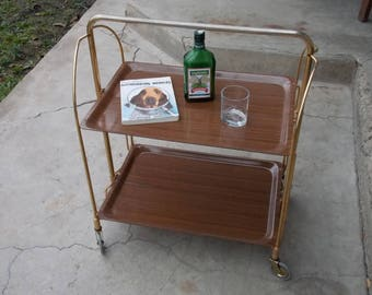 Mid Century Serving Bar Cart, Brown Color, Home Decor, Side Table, Folding