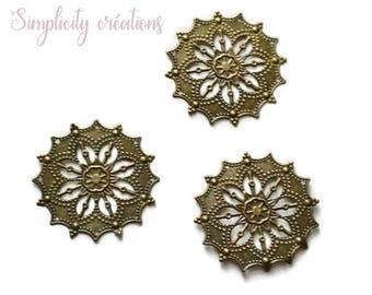 round filigree, bronze 40mm set of 2 prints