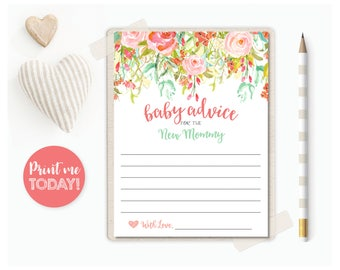 Baby Advice for the New Mommy | Mommy-to-Be | New Parents | Baby Shower Game | Baby Shower Bundle | INSTANT DOWNLOAD | PRINTABLE | #100