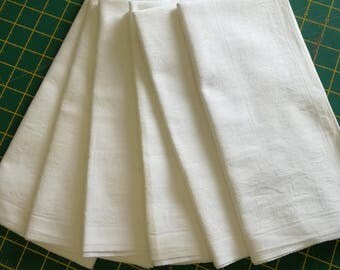 Six Vintage White Damask Napkins