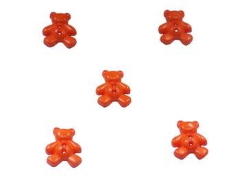 kids buttons , plastic buttons , bears , orange
