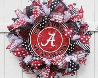 Alabama Wreath, University of Alabama Wreath, Alabama Crimson Tide Wreath, Roll Tide Wreath, Alabama Door Wreath, Alabama Football Wreath