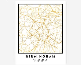 Birmingham Map Coordinates Print - England City Street Map Art Poster, Gold Birmingham Map Print, Birmingham United Kingdom Coordinates Map