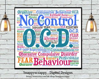OCD Wordart, OCD Typography, Mental Health Aware, Printable Image, Print Your Own.  Obssessive Compulsive Disorder  Wordart, Wellbeing